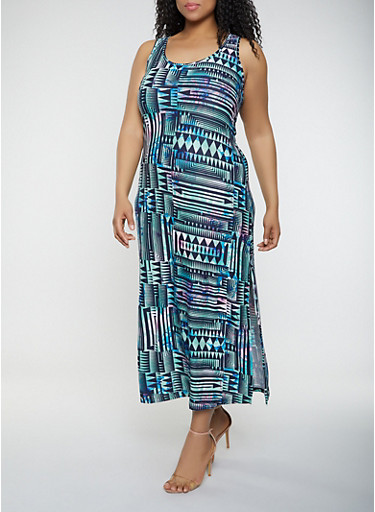 Plus Size Aztec Print Tank Maxi Dress,BLACK,large