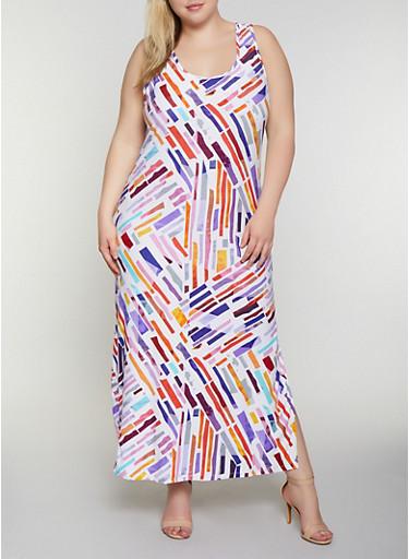 Plus Size Printed Scoop Neck Tank Maxi Dress,YELLOW,large