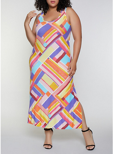 Plus Size Multi Color Printed Tank Dress