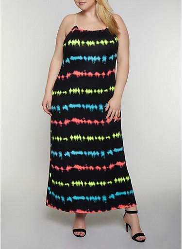 Plus Size Tie Dye Rope Strap Cami Maxi Dress,BLACK,large