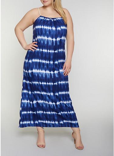 Plus Size Rope Strap Tie Dye Maxi Dress - Rainbow