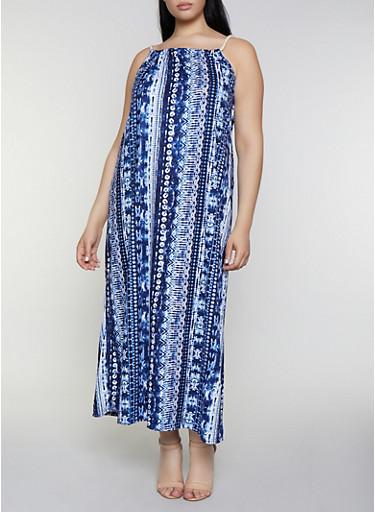Plus Size Tie Dye Soft Knit Maxi Dress,NAVY,large