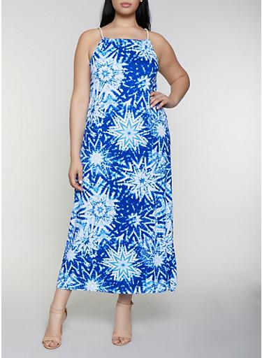Plus Size Tie Dye Maxi Dress,BLUE,large