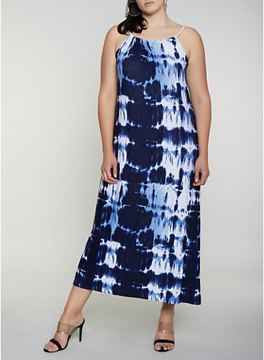 Plus Size Tie Dye Rope Strap Maxi Dress,NAVY,large