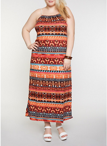 Plus Size Printed Rope Strap Maxi Dress,RUST,large