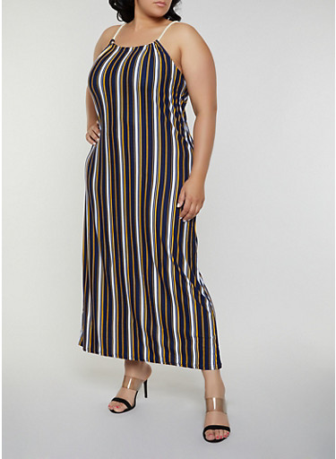 Plus Size Striped Keyhole Back Maxi Dress,NAVY,large