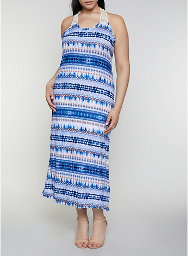 Plus Size Printed Crochet Detail Tank Dress,NAVY,large