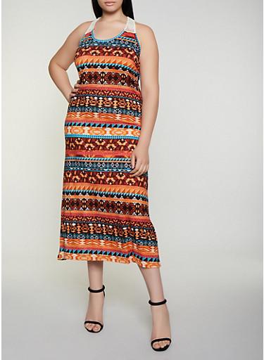 Plus Size Crochet Detail Aztec Print Tank Dress,RUST,large