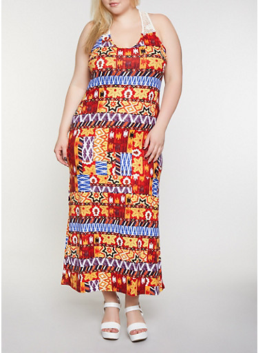 Plus Size Crochet Yoke Printed Maxi Dress,RUST,large