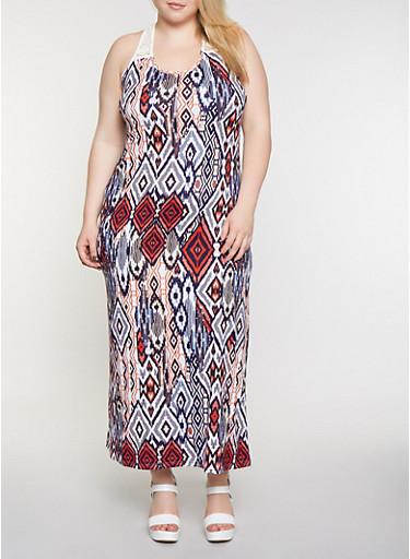 Plus Size Soft Knit Printed Tank Maxi Dress,IVORY,large