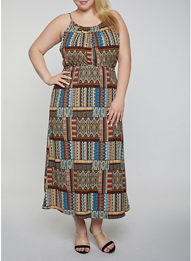 Plus Size Printed Maxi High Neck Dress,MULTI COLOR,large