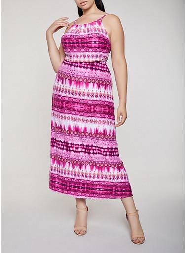 Printed Soft Knit Empire Maxi Dress,WINE,large