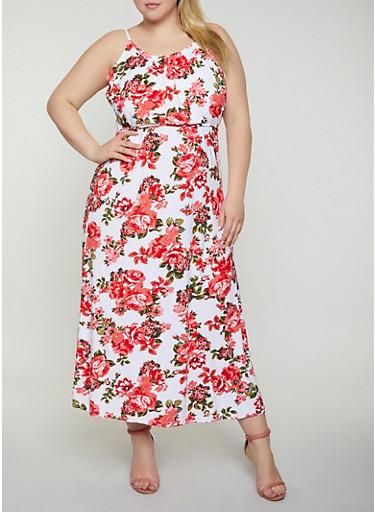 Plus Size Tie Back Floral Maxi Dress,IVORY,large