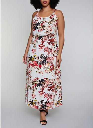 Plus Size Cinched Waist Floral Maxi Dress,IVORY,large