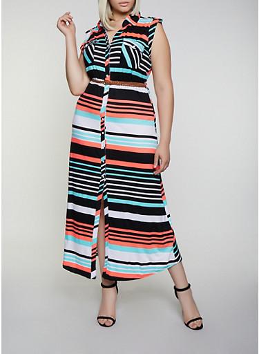 Plus Size Soft Knit Striped Shirt Maxi Dress,BLACK,large