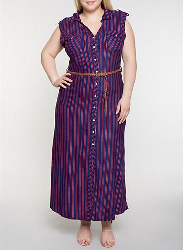 Plus Size Striped Shirt Maxi Dress,NAVY,large