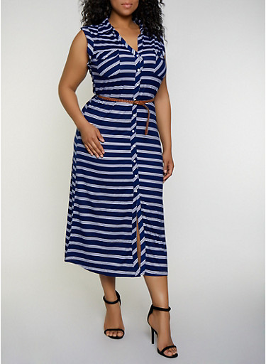 Plus Size Striped Maxi Shirt Dress