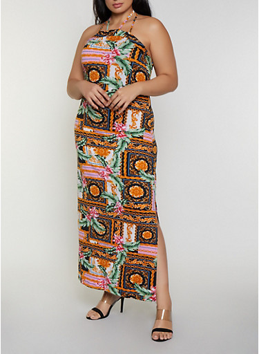 Plus Size Floral Chain Print Maxi Dress,MULTI COLOR,large