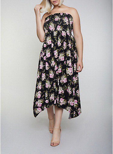 Plus Size Floral Soft Knit Maxi Dress,BLACK,large