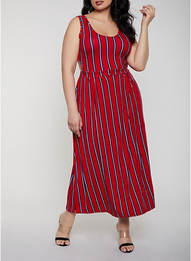 Plus Size Cut Out Detail Maxi Dress,RED,large