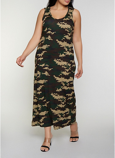 Plus Size Hooded Camo Maxi Tank Dress