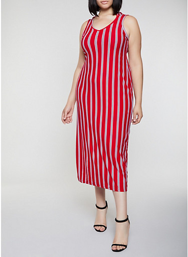 Plus Size Striped Hooded Tank Maxi Dress,RED,large
