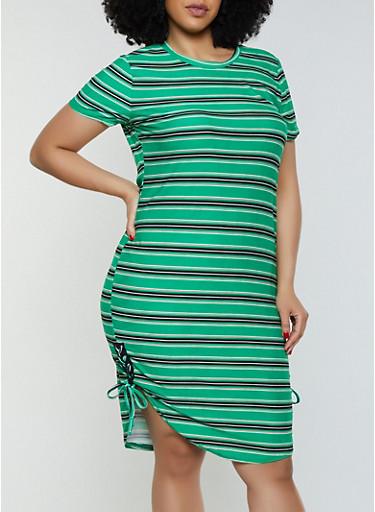 Plus Size Lace Up Side Striped Dress