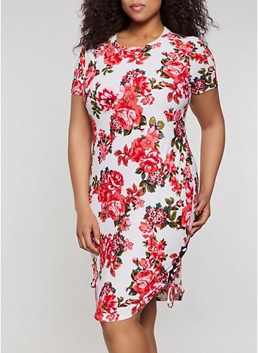 Plus Size Floral Lace Up T Shirt Dress,IVORY,large