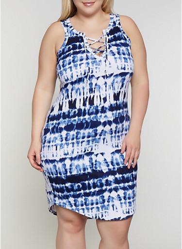Plus Size Tie Dye Lace Up Tank Dress,NAVY,large