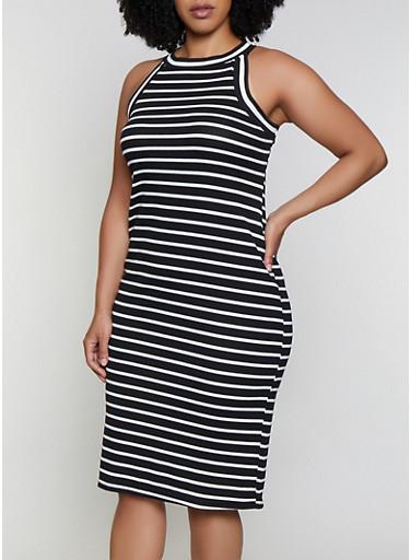 Plus Size High Neck Striped Rib Knit Dress,BLACK/WHITE,large