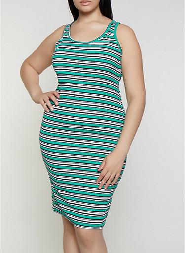 Plus Size Rib Knit Striped Midi Tank Dress,KELLY GREEN,large