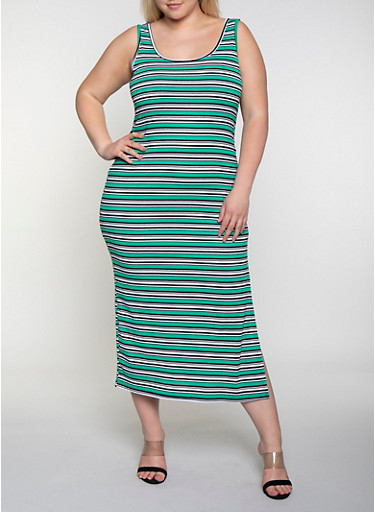 Plus Size Striped Rib Knit Racerback Tank Dress,KELLY GREEN,large