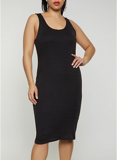Plus Size Solid Ribbed Knit Tank Dress,BLACK,large