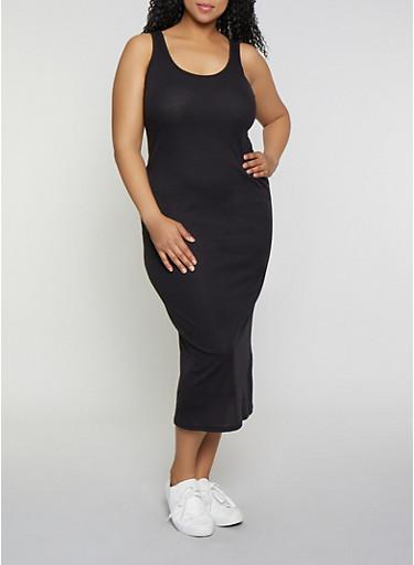 Plus Size Basic Ribbed Knit Tank Dress,BLACK,large