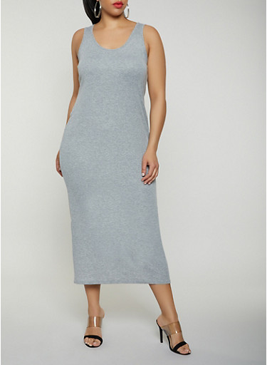 Plus Size Basic Ribbed Knit Tank Dress,HEATHER,large