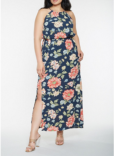 Plus Size Sleeveless Printed Maxi Dress,NAVY,large
