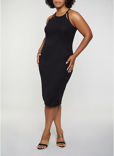 Plus Size Rib Knit Cut Out Tank Dress | 0390051062940,BLACK,large