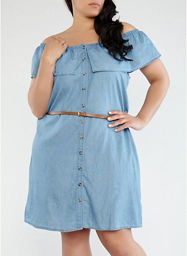 Plus Size Off the Shoulder Shirt Dress,MEDIUM WASH,large