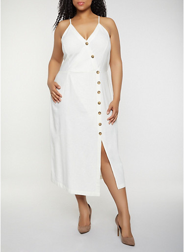 Plus Size Asymmetrical Button Front Cami Dress,IVORY,large