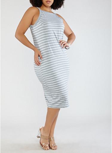 Plus Size Striped Midi Tank Dress,HEATHER,large