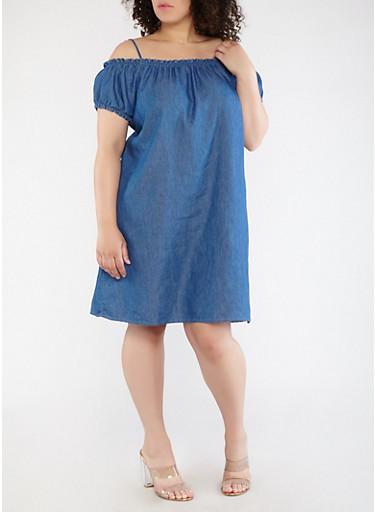 Plus Size Off the Shoulder Shift Dress,MEDIUM WASH,large