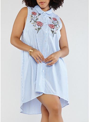 Plus Size Striped Shirt Dress with Applique,BLUE,large