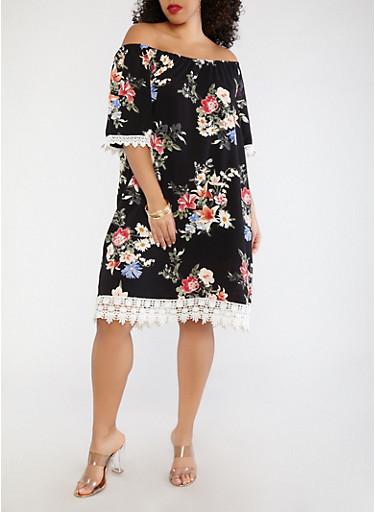 Plus Size Floral Off the Shoulder Dress,BLACK,large
