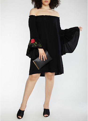 Plus Size Off the Shoulder Bell Sleeve Dress,BLACK,large