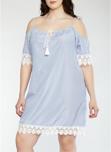 Plus Size Striped Cold Shoulder Shift Dress,RYL BLUE,large