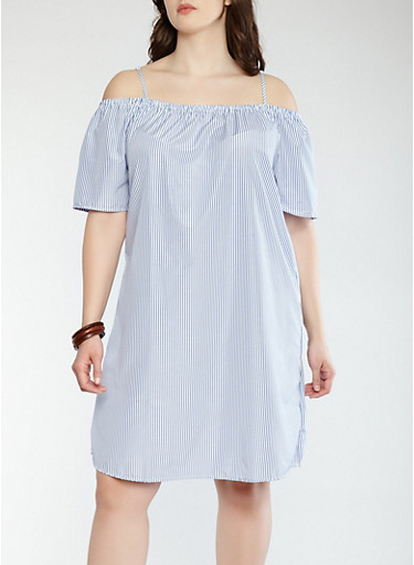 Plus Size Striped Off the Shoulder Shift Dress,WHITE/BLUE,large