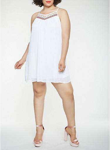 Plus Size Crochet Trim Mini Dress,WHITE,large