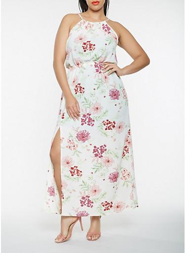 Plus Size Sleeveless Printed Maxi Dress,IVORY,large