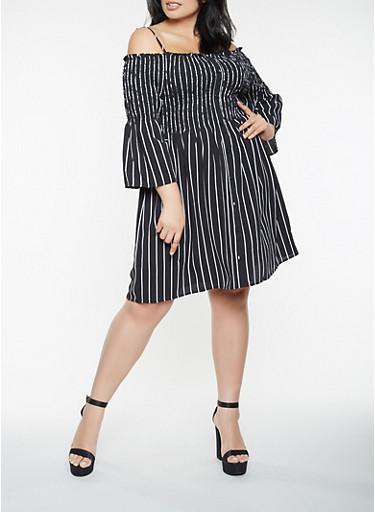 Plus Size Striped Off The Shoulder Dress Rainbow