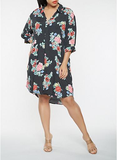 Plus Size Printed Shirt Dress,BLACK,large